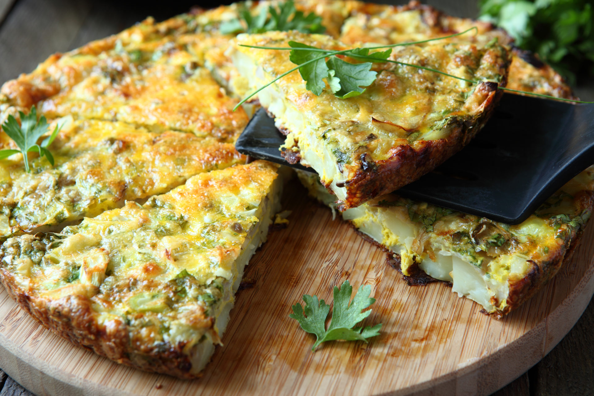 Frittata with slices of fresh greens